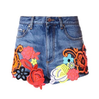Lace-Embroidered Denim Shorts