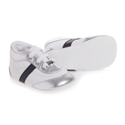 Boys White Leather Pre-Walker Trainers