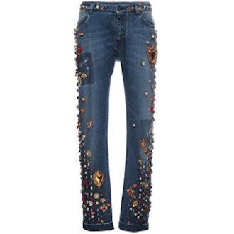 Embellished Boyfriend Jeans