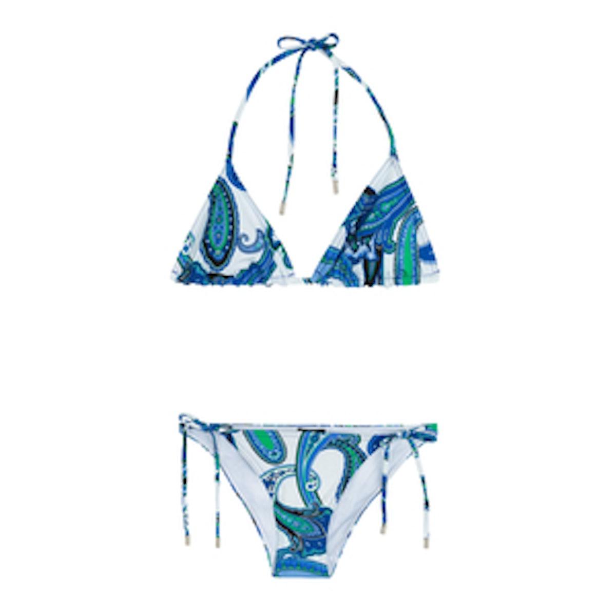 Paisley Print Triangle Bikini