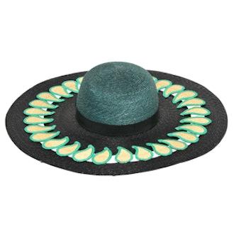 Paisley Detail on Straw Wide Brim Hat