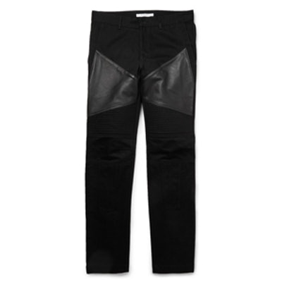 Leather-Trimmed Panelled Dry-Denim Jeans