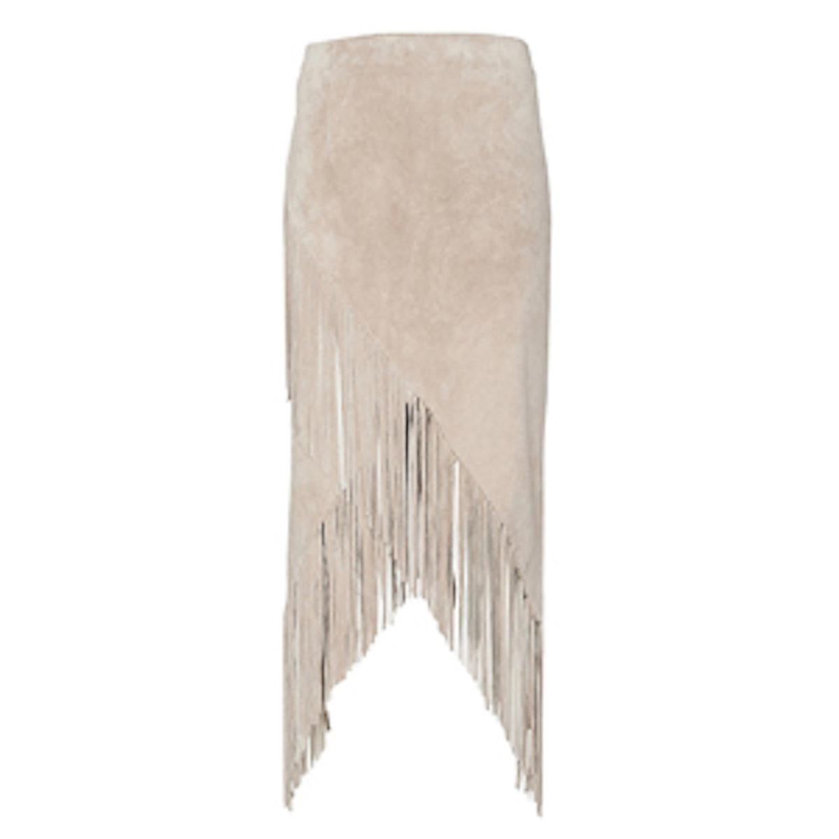 Asymmetric Suede Fringe Skirt