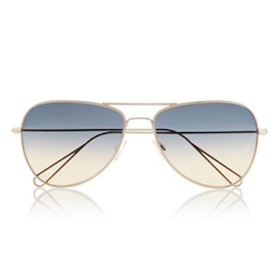 Matt Aviator-Style Metal Sunglasses