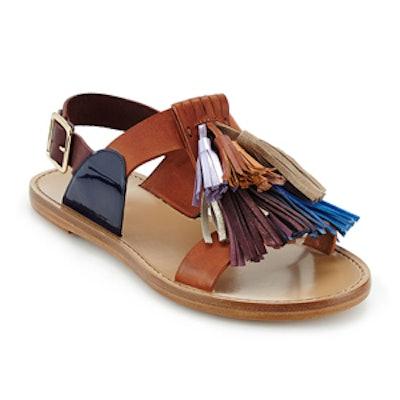 Flat Leather Pompom Sandal