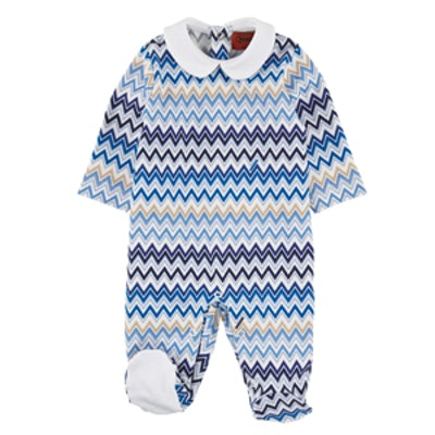 Signature Print Cotton Jersey Sleepsuit in Blue