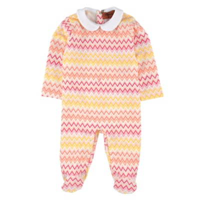 Signature Print Cotton Jersey Sleepsuit in Pink