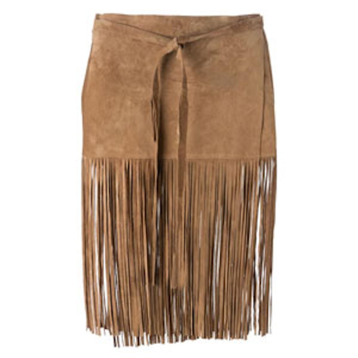 Tied Fringed Skirt