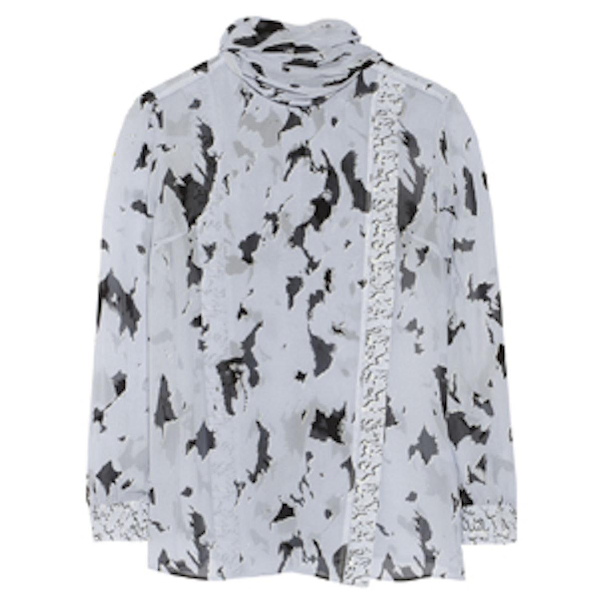 Draped Printed Silk-Chiffon Blouse