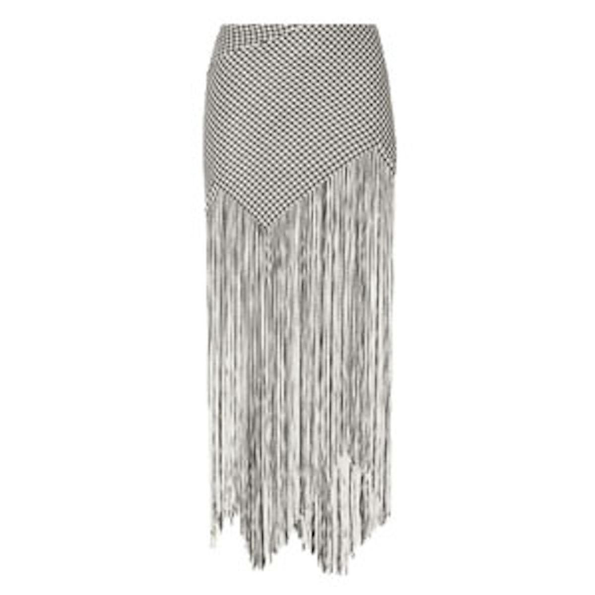 Fringed Basketweave Canvas Maxi Skirt