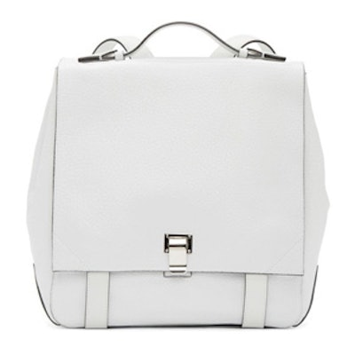 White Grained Leather Backpack