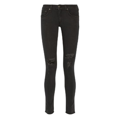 The Skinny Distressed Mid-Rise Jeans