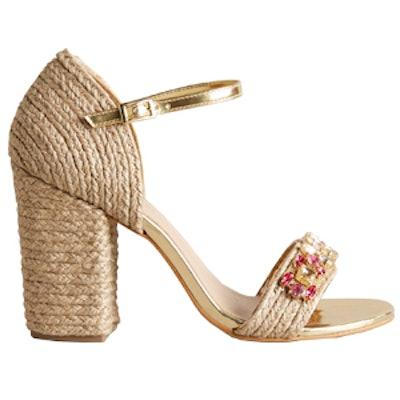 Jeweled Raffia Heels