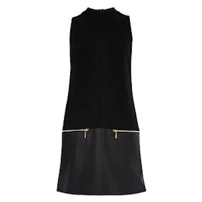 Black Leather-Look Hem Shift Dress
