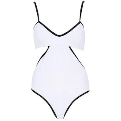 White Cut Out Black Trim Cami Swimsuit