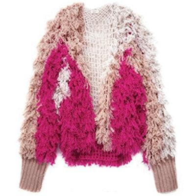 Pink Multi Furry Fringe Cardigan