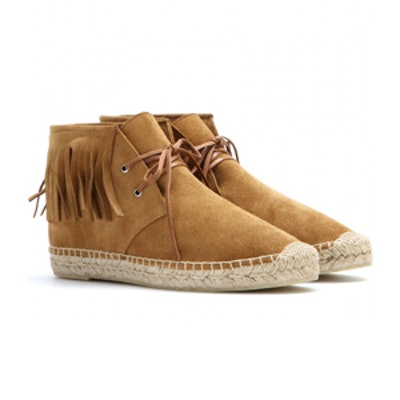 Suede Espadrille-Style Ankle Boots