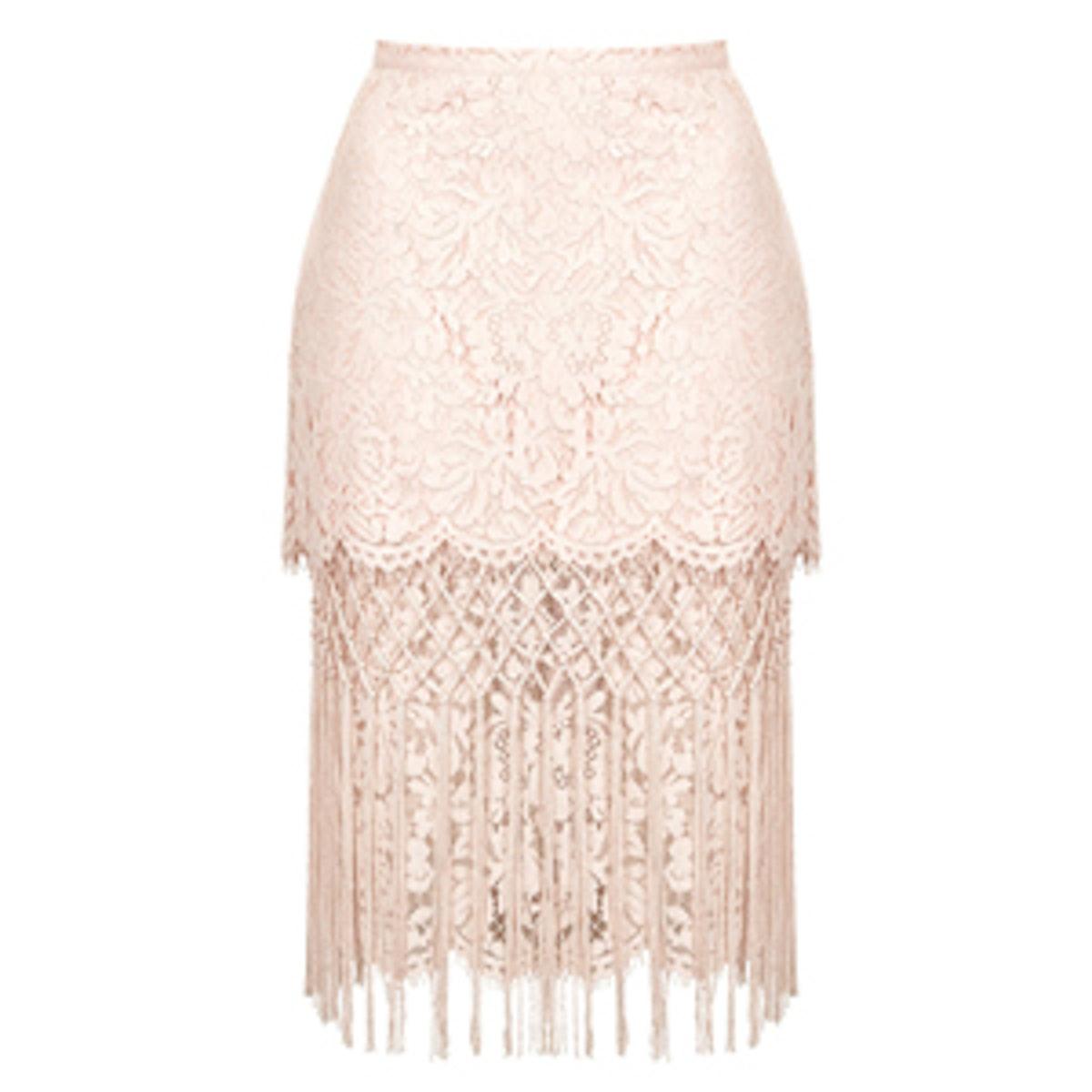 Fringe Lace Pencil Skirt