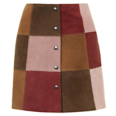 Suede Patchwork A-Line Skirt