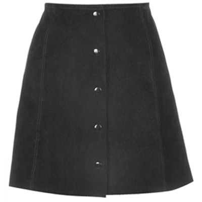 Suede A-Line Popper Front Skirt