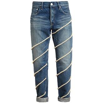 Pearl Embellished Boyfriend Jeans