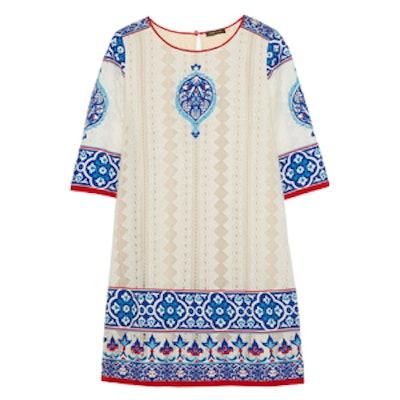 Appliqued Crocheted Cotton Mini Dress