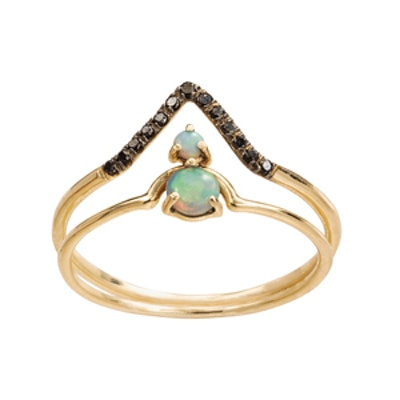 Micropave Triangle and Nestled Opal Ring