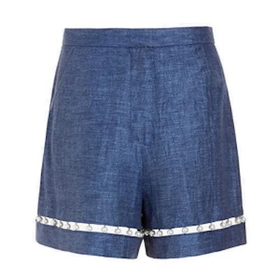 Patootie Pearl Detail High Waist Denim Shorts