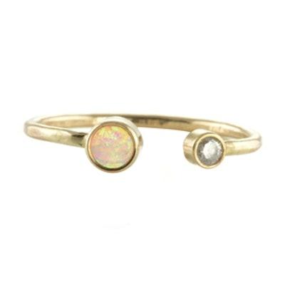 Open Cuff Diamond & Opal Ring