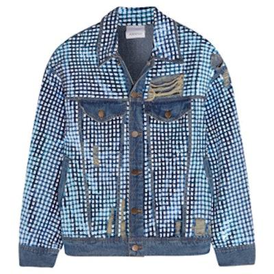Sequined Distressed Denim Jacket