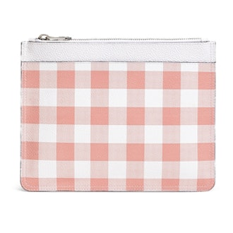 Leather Gingham Clutch
