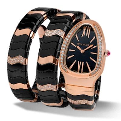 Serpenti Spiga 18K Pink Gold Crown Set Watch