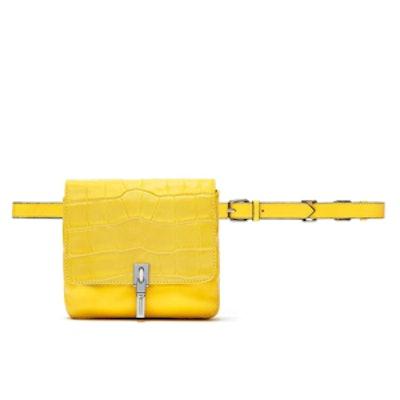 Cynnie Crocodile-Embossed Belt Bag
