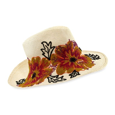 Floral-Embroidered Straw Canvas Hat
