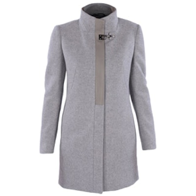 Wool Coat with Leather Detail