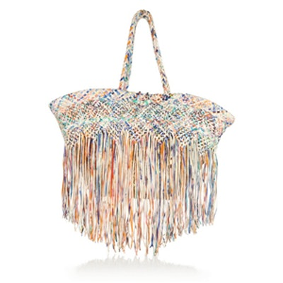 Fringed Raffia and Leather Tote
