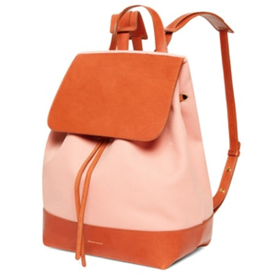 Canvas Backpack in Blush/Moss