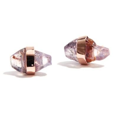 Raw Pink Sapphire Stud Earrings