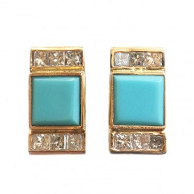 Square Turquoise & Diamond Earrings