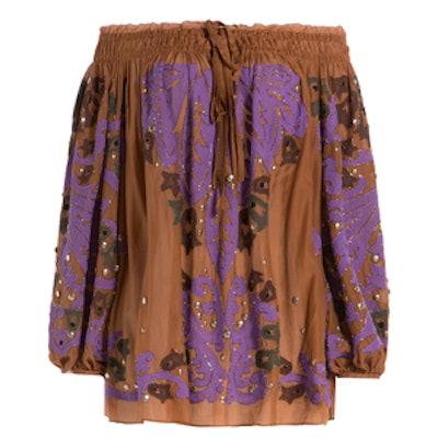 Embellished Cotton-Silk Blouse
