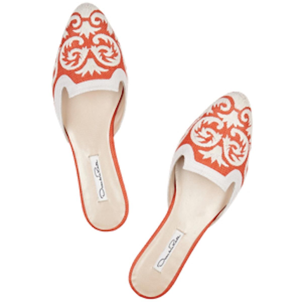 Calista Embroidered Raffia Slippers