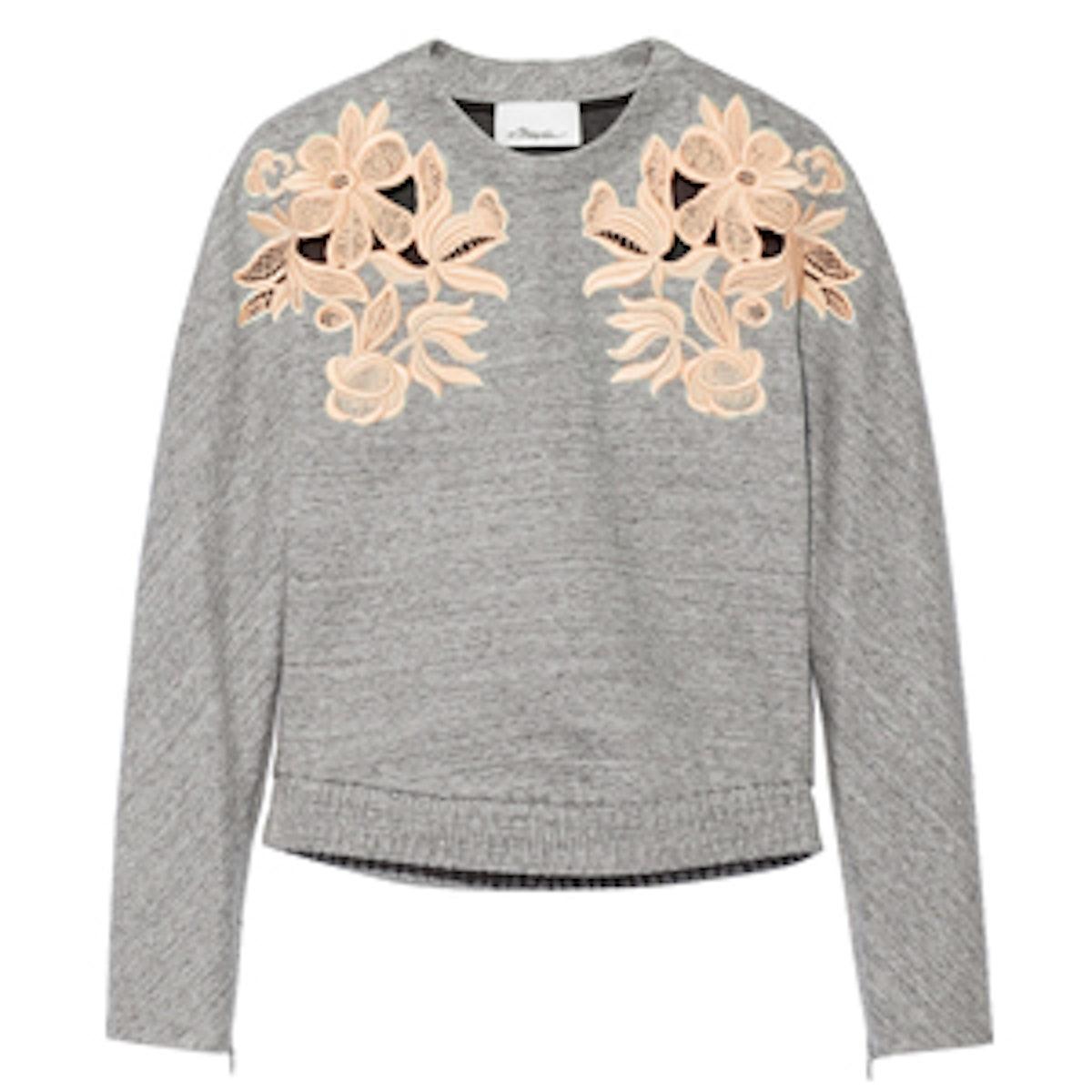 Guipure Lace Paneled Cotton Blend Sweatshirt