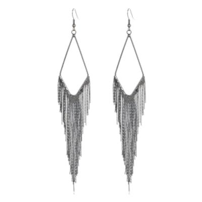 Silver Tone Slinky Chain Dangle Earrings