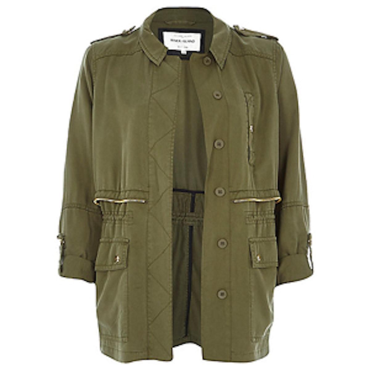 Khaki Utility Military Casual Jacket