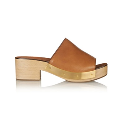 Leather and Wood Platform Clogs