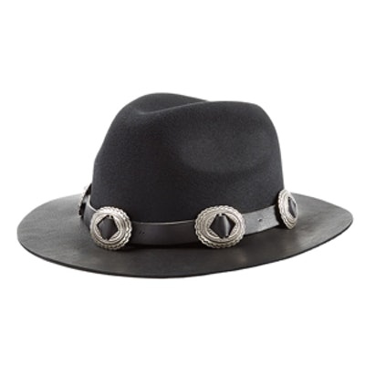 Embellished Felt Hat with Leather Brim