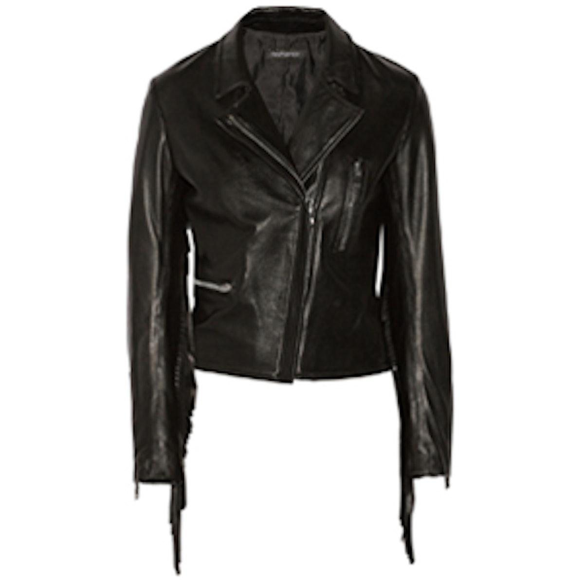 Gina Fringe Leather Moto Jacket