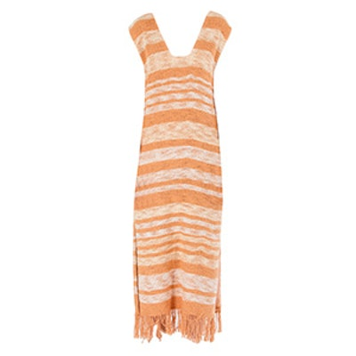 Gradient Long Fringe Dress