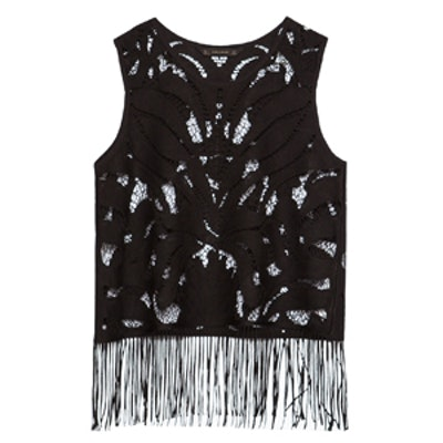 Open-Work Fringed Top