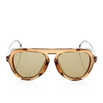 Metal-Blinker Aviator-Style Sunglasses